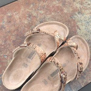 Birkenstock, crisscross straps, copper/rose gold